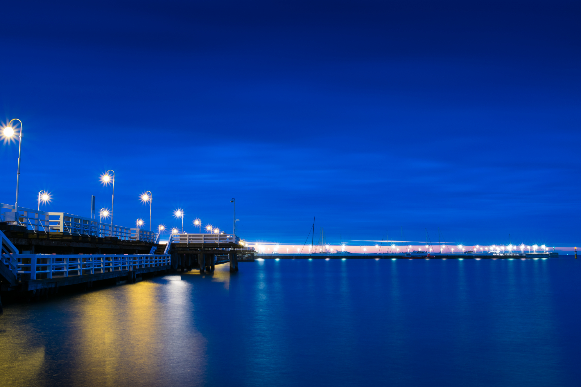 Sopot jetty at  nigh side view
